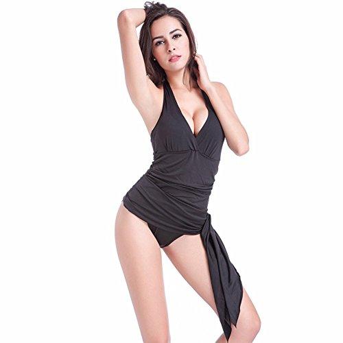 Moollyfox Mujer Una Pieza Elegante Trajes De Baño Bañador Con Falda Asimetría Vestido Verano Playa Negro