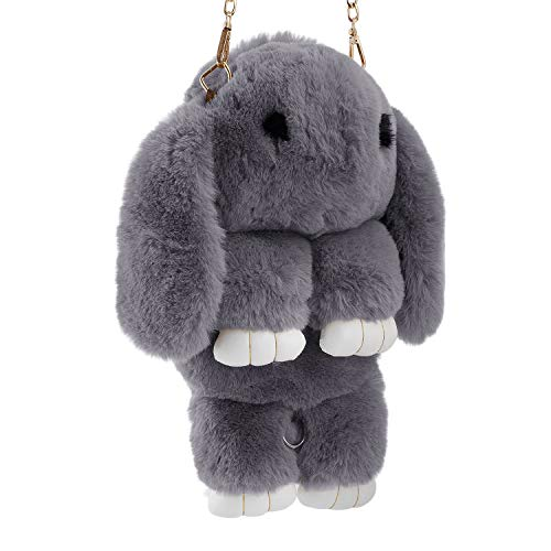 (Kids Bunny Hare Backpack Rabbit Faux Fur Shoulder Bags Plush Doll Crossbody Handbag Knapsack Wallet Purse Cellphone Coin Key Card Satchel Toy Travel Pouch Beauty Fashion Dress Up Gift for)