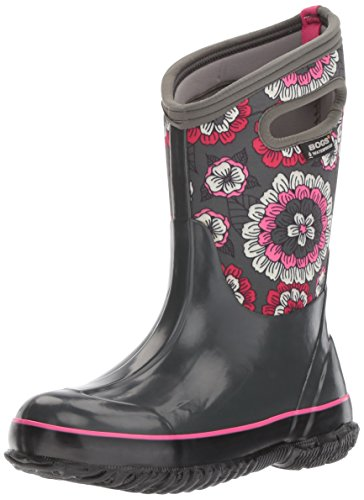 Price comparison product image Bogs Classic High Waterproof Insulated Rubber Neoprene Rain Boot Snow, Pansies Print/Dark Gray/Multi, 2 M US Little Kid