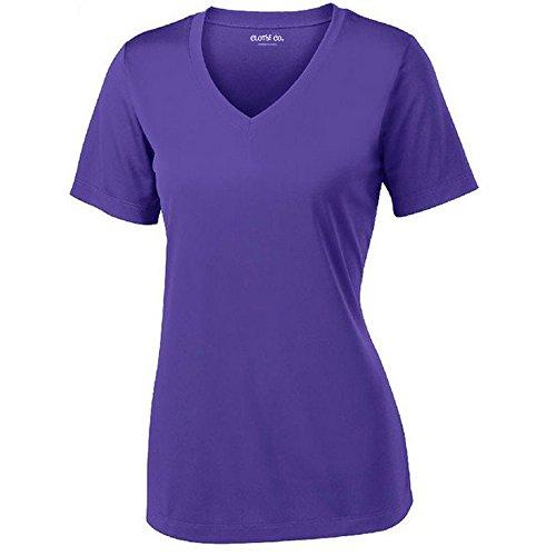 Clothe Co. Ladies Short Sleeve V-Neck Moisture Wicking Athletic Shirt, Purple, L