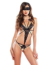 Leg Avenue Women's Cage Strap Lace Crotchless Teddy and Blindfold