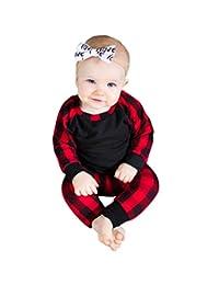 ANBOO 2Pcs Newborn Baby Boys Girls Plaid Print Tops T-Shirt Pants Outfits Set
