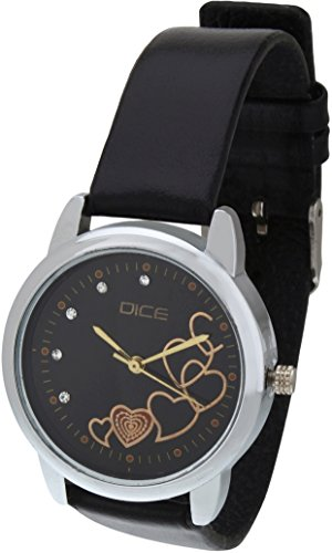 "DICE ""Grace – 8826"" Fashionable, Elegant, Contemporary, Tasteful and attractive Watch for women. Black Dial, Silver case and Anti allergic Leather Strap."