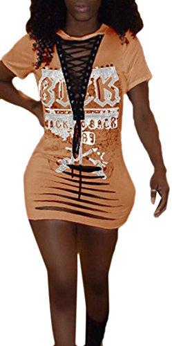 Bodycon Del Arancione Del Manica Jaycargogo Club Sexy Corta Di Pizzo Mini Stampa Digitale Donne Vestito Fasciatura PfnqwHvg