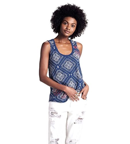 Lucky Brand - Women's - Navy Blue Medallion Bandana Print Cotton Tank Top (Small)