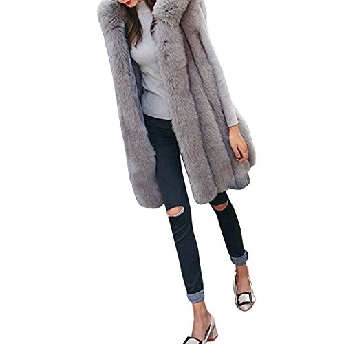 GOVOW Faux Fur Coat Hoodie Fashion Women Waistcoat Vest Gilet Jacket Outwear Cardigan(US:6/CN:L,Gray ) by GOVOW