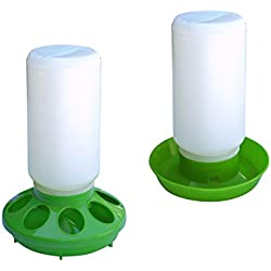 ALEKO PDR001PFD002 Set of Water Drinker Container and Feeder Pan for Chickens Hen Poultry, Green and White