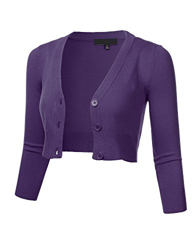 FLORIA Women's Solid Button Down 3/4 Sleeve Cropped Bolero Cardigan Sweater Grape L