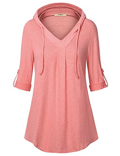 - Timeson Tunic Shirts for Leggings, Womens V Neck Stretchy Hooded Tunics Comfy Fall Knits Long Sleeve Plus Size Thin Dressy Flowy Sweatshirts for Leggings Orange XX-Large