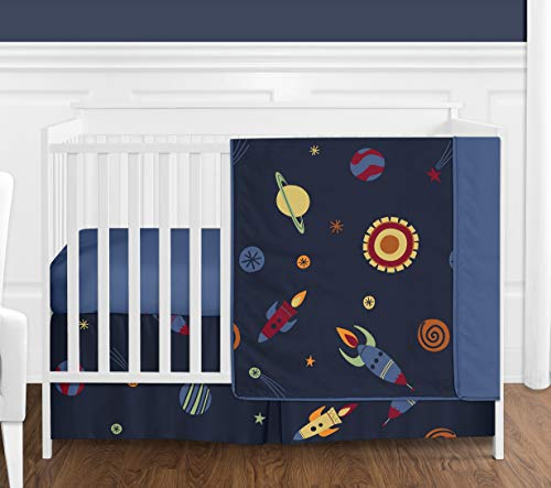 Sweet Jojo Designs Space Galaxy Rocket Ship, Planet, Galactic 4 Piece Baby Boy Girl Bedding Crib Set Without Bumper