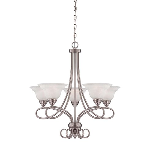 Savoy House 1-120-5-69 Chandelier with White Faux Alabaster Shades, Pewter Finish - Pewter Chandelier