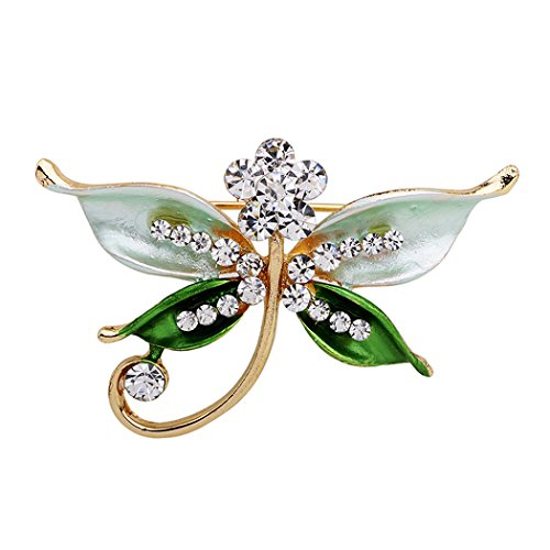 Romantic Time Green Dragonfly Diamond Tone Curving Style Brooch Pin (Yellow Brooch 9k)