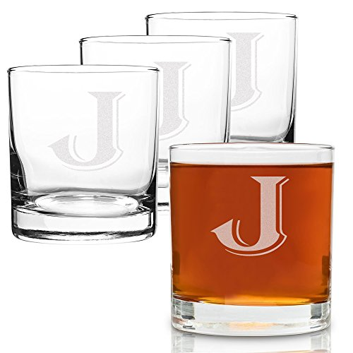 On The Rox 4 Piece Glass Set Engraved with J-Monogram, - Glass Engraved Piece