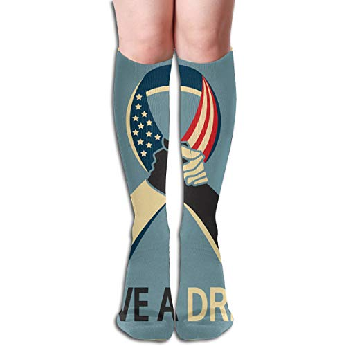 Mlk I Have A Dream Martin Luther King Jr Day Themed Clothing Apparel Leg Mid Tall Long Tube Knee High Calf Stocking Costume Clothes Dresses Hi Female Ladies Women Girl Teen Youth Hosiery Socks ()