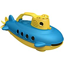 Green Toys Submarine in Yellow - BPA Free, Phthalate Free, Bath Toy with Spinning Rear Propeller. Safe Toys for Toddlers, Babies