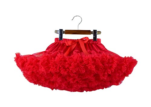 Storeofbaby Girls Pleated Tutu Skirt Fluffy Solid Color Petticoat Party Dance,5-7 Years/M,Red