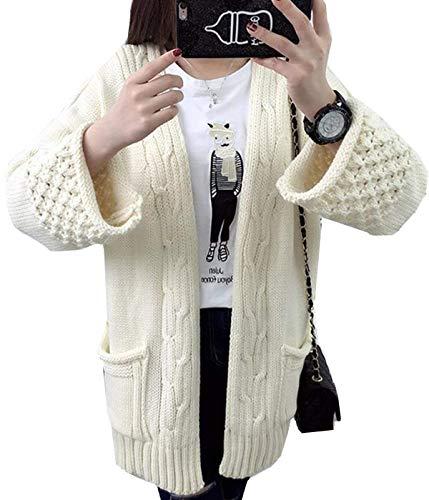 Plus Bianco Con A Cappotto Allentato Giacca Beige Elegante Lunga Casuale Manica Grazioso Prodotto Colori Lunga Autunno Primaverile Giaccone Cappotto Solidi A Maglia Maglia Tasche Moda Sciolto Cardigan Donna CwHRW