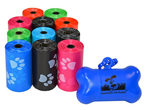 (220 Pet Waste Bags, Dog Waste Bags, Bulk Poop Bags on a roll, Clean up poop bag refills - (Color: Rainbow of Colors with Paw Prints) + FREE Bone Dispenser, by Pet Supply City LLC )