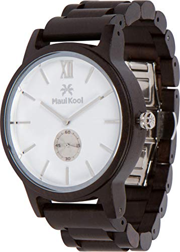 Wooden Watch for Men Maui Kool Kaanapali Collection Analog Large Face Wood Watch Bamboo Gift Box (C5 - White Face)