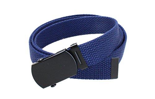 Kids Canvas Web Belt Flat Black Buckle/Tip Solid Color - Navy