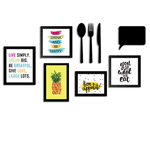 ART STREET – Set of 5 Wall wood Photo Frame/Art Prints for Dinning Table, Kitchen or Eating Area with MDF Cutlery and…