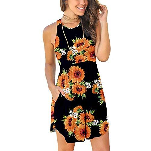Sleeveless Print Mini Dress, FAPIZI New Summer Fashion Women Side Pocket Casual Party Banquet Mini Dress Yellow