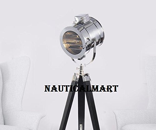 Movie Cinema Style Chrome Finish Searchlight With Single Wood Stand By Nauticalmart