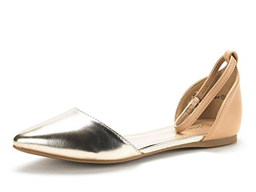 Dream Pairs Women's Flapointed-New Nude Gold D'orsay Ballet Flats Shoes - 9 M US