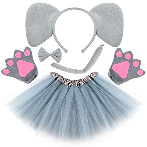 Elephant Dress Up Costume (Kids Animal Costume Ears Headband Glove Bowtie Tail Tutu Set Fancy Dress Up Outfit Birthday Party Cosplay Halloween Costume for Girls)