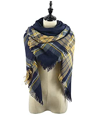 American Trends Winter Fall Warm Cozy All-match Blanket Scarf Womens Plaid Soft Large Tartan Scarves Wrap Shawl Yellow Navy