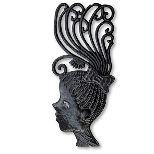 Spring Indoor Outdoor Decor, Silhouette Girls, Decorative Wall Hanging, Collectible Mask Sculptures, Eclectic, Original, Unique Steel Metal Masks from Haiti (1, Left) 7