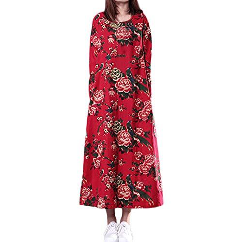 Women Plus Size Maxi Dress, Folk-Custom Loose Long Sleeves Printing Cotton and Linen Dress ANJUNIE(Red,M)