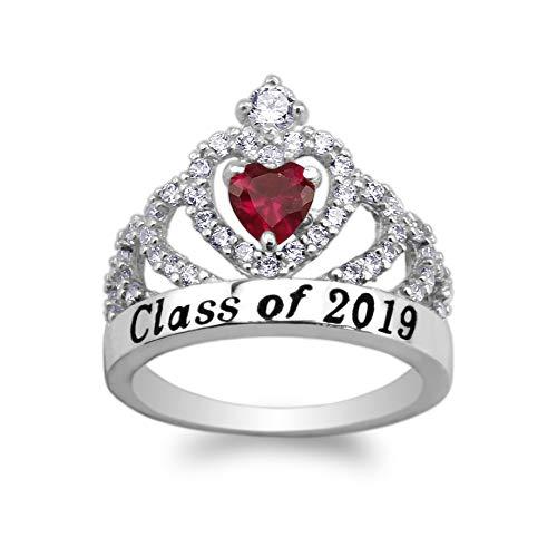 - JamesJenny 925 Sterling Silver School Class of 2019 Graduation Red 0.5ct Heart CZ Ring Size 6.5