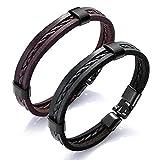 Loweryeah Men Women Vintage Bracelets Woven Leather Rope Wristband Bangle Braided Bracelets