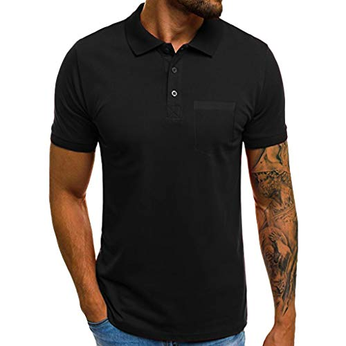 Hosamtel Men Polo Shirt Short Sleeve with Button Pocket Summer Casual Sport Workout Fitness Slim Fit T-Shirt Tops Blouse Black