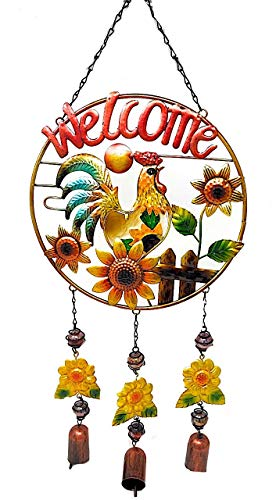 (Mayrich Welcome Rooster Sunflowers Wind Chime Charm Colorful Metal W Stained Glass Decor Indoor Outdoor 24