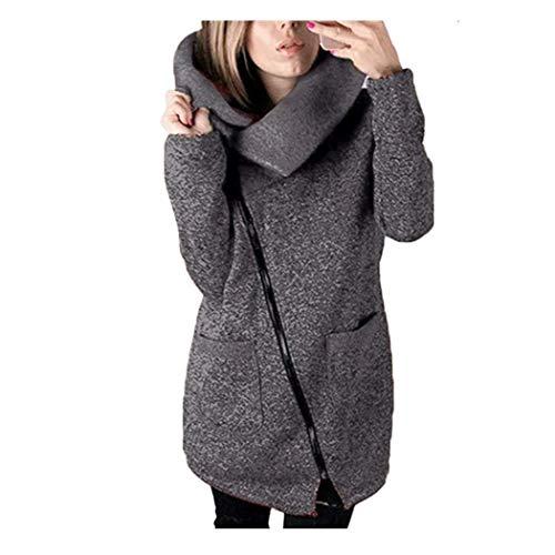 B Hiver solide Outwear Large haut Gris Zipper Femme Orange Taille Casual Coat Xxx col Zhrui Automne Foncé Couleur Side SqARgUwR