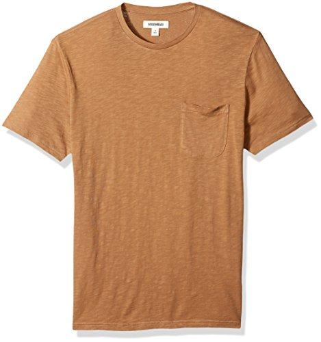 Goodthreads Men's Lightweight Slub Crewneck Pocket T-Shirt, Tan, - Cotton Washed Mens