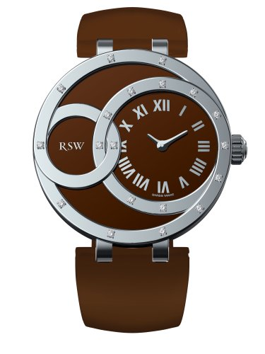 RSW Women's 6025.BS.L9.92.D0 Wonderland Round Diamond Glitter Brown Leather Roman Numerals Watch