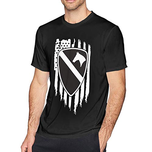 1st Cavalry First Team T-shirt - American Flag US Army 1st Cavalry Division First Team Men's Fashion T-Shirt Printing Short Sleeve T-Shirt