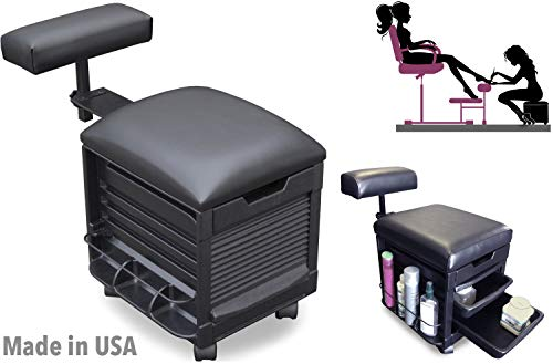 2316-HF Pedicure Stool Seat w/Adjustable Footrest for Nail Salon & SPA Made in USA by Dina Meri