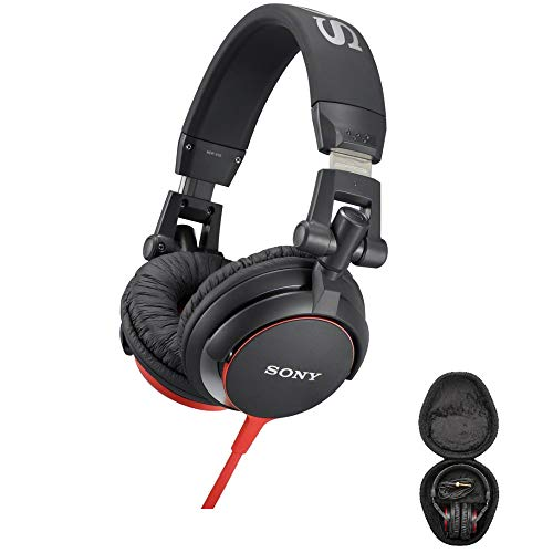 Sony MDRV55 Red Extra Bass & DJ Headphones with Knox Gear Hard Shell Headphone Case Bundle (2 Items)