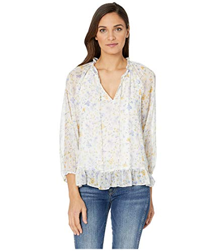 CeCe Women's Long Sleeve Provence Floral Blouse w/Ruffle Soft Ecru Medium