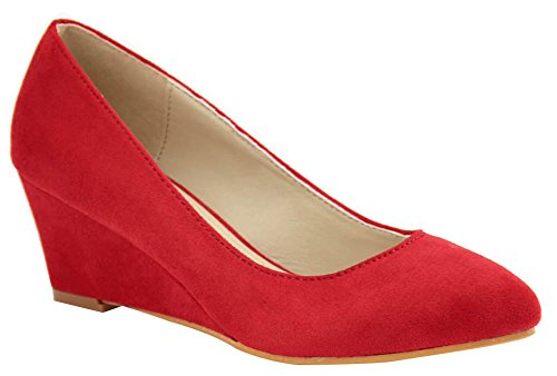 Bella Marie Womens Slip-On Closed Pointed Toe Wrapped Mid Wedge Pump Red 9sUfo4bSEg
