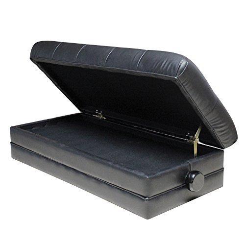 Flanger FJ-029 Adjustable Duet Size Genuine Leather Artist Piano Bench, Ebony, Black