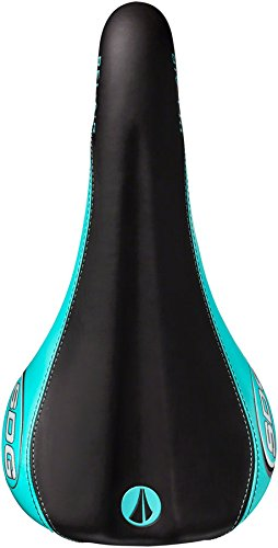 SDG Bel-Air RL Saddle: Ti-Alloy Rails, Black Microfiber Top with Teal Synthetic Sides# and Painted Rails