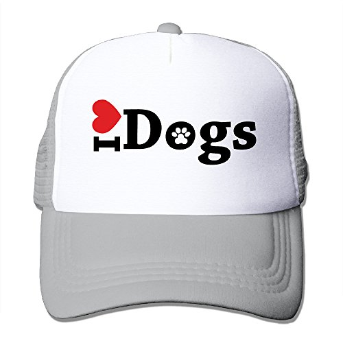 Lihed I Love Dogs Trucker Cap Baseball Mesh Cap Ash (Wine Country Gift Coupon)