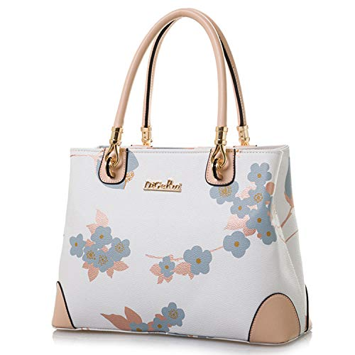 Womens Vintage Shoulder Bag All-over Flowers Pu Leather Tote Purse Cross Body Handbag (White) ()