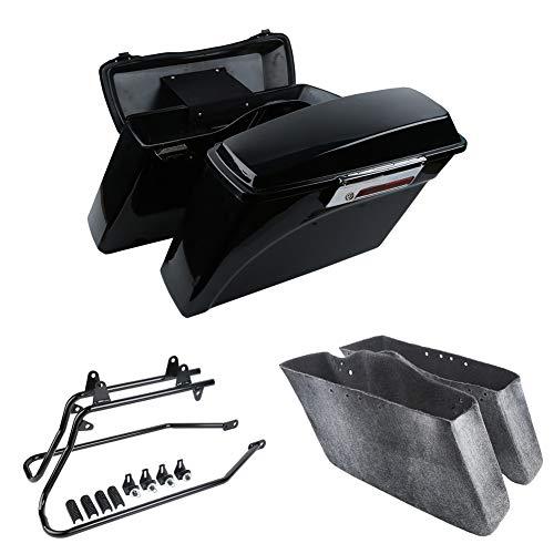 - Vivid Black Hard Saddlebags kit w/Saddlebag Support Bracket fits for Harley Davidson Softail FL models 1984-2006,FX models 1984-2005