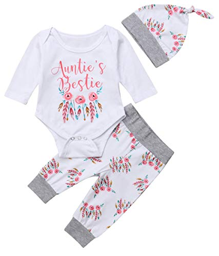 Newborn Baby Girls 3pcs Outfit Set Auntie
